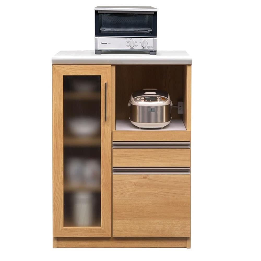 レンジ台 マテリア 70A ミニ食器棚/幅70cm(オーク):◆使いやすい高さ97cmのハイカウンター ※小物類はイメージです