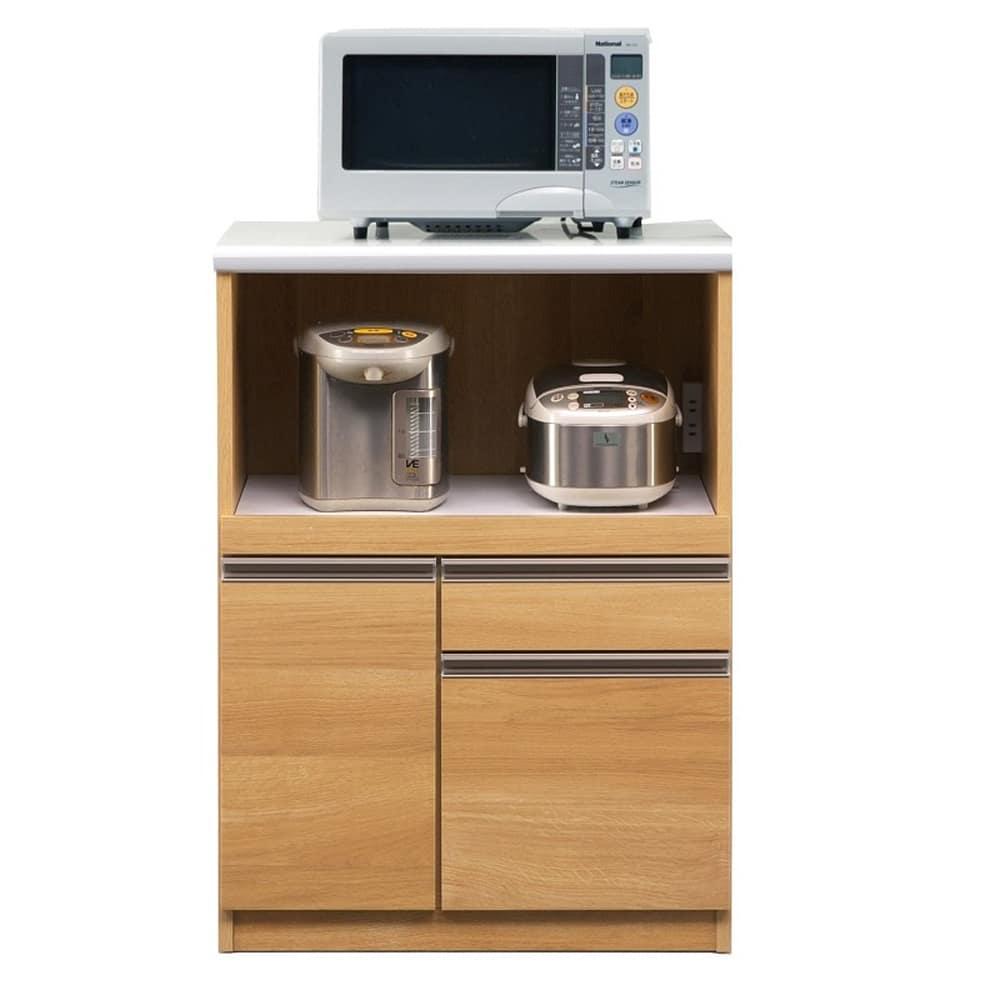 レンジ台 マテリア 70B オープン/幅70cm(オーク):◆使いやすい高さ97cmのハイカウンター ※小物類はイメージです
