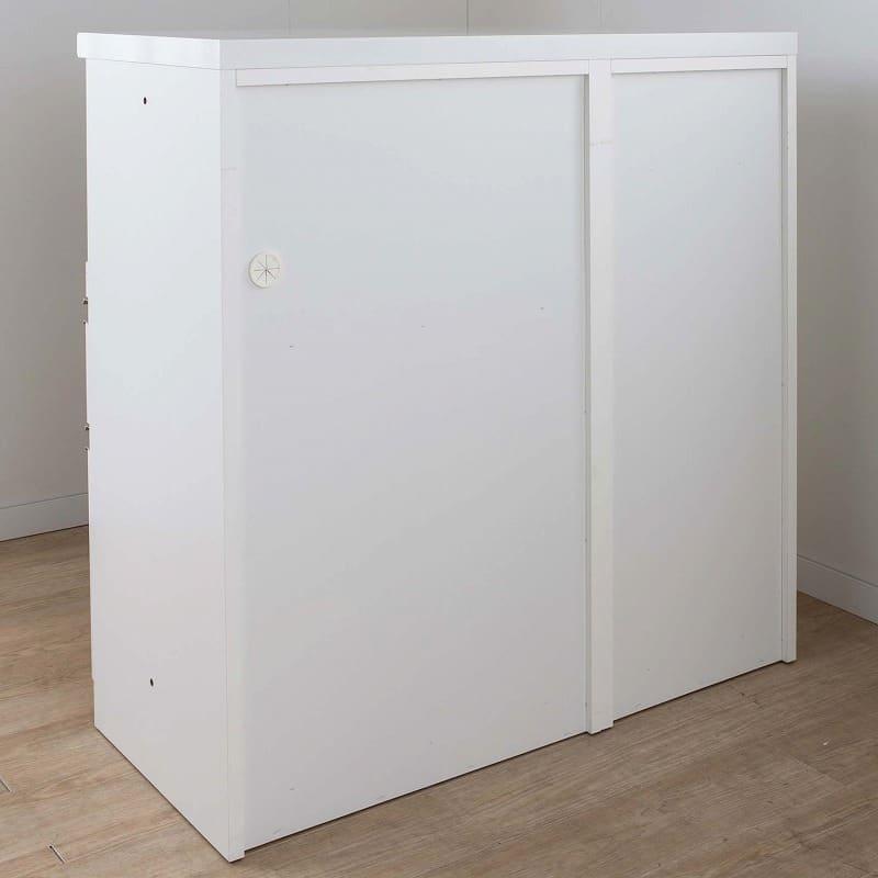 カウンター ロータイプ下台リンクL 80H 引出ホワイト:背面化粧