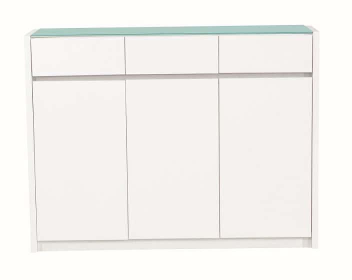 カウンター バール 303 ホワイト:◆天板には強化ガラス天板を使用し、塗装も光沢があります