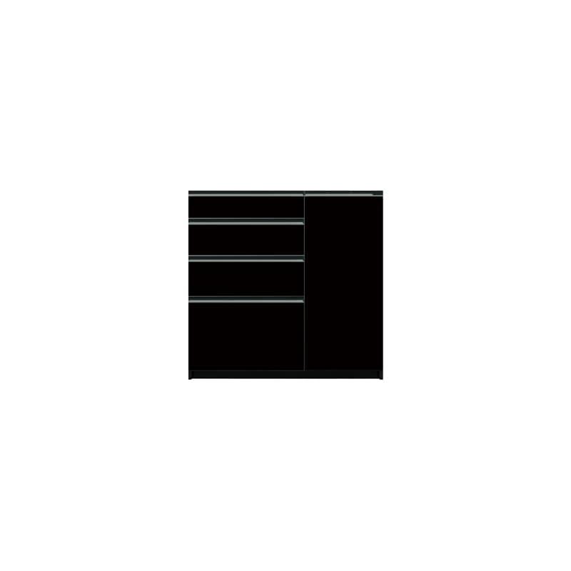 下台(4段引出/扉右側)SC−100 Bブラックグレイン:《お客様の理想が詰まった食器棚「SCシリーズ」》