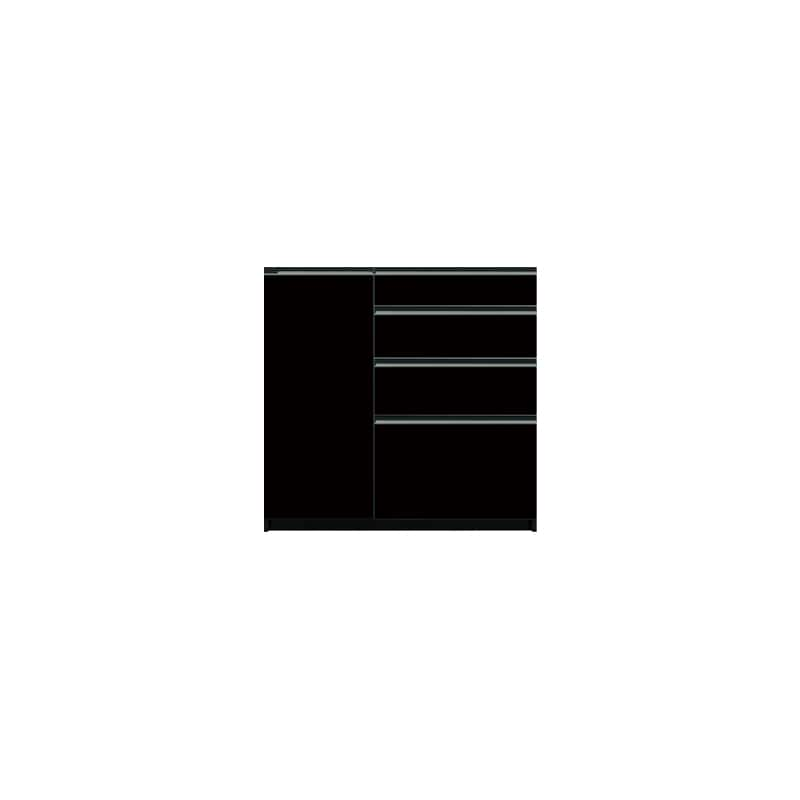 下台(4段引出/扉左側)SC−101 Bブラックグレイン:《お客様の理想が詰まった食器棚「SCシリーズ」》