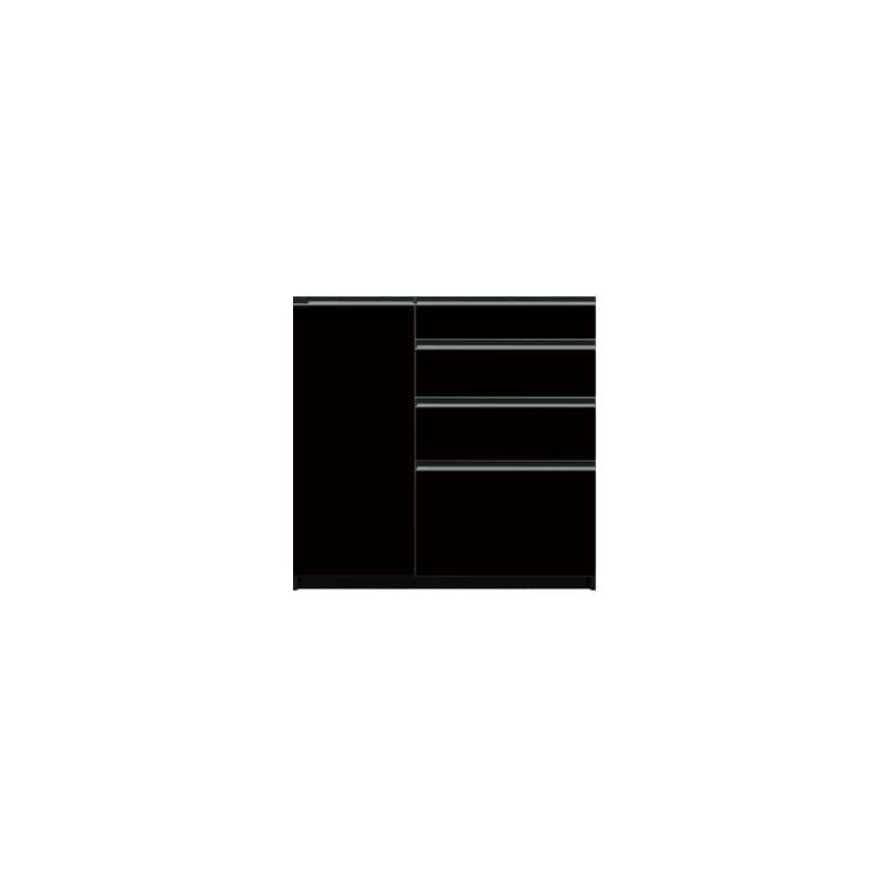 下台(4段引出/扉左側)SC−S101 Bブラックグレイン:《お客様の理想が詰まった食器棚「SCシリーズ」》