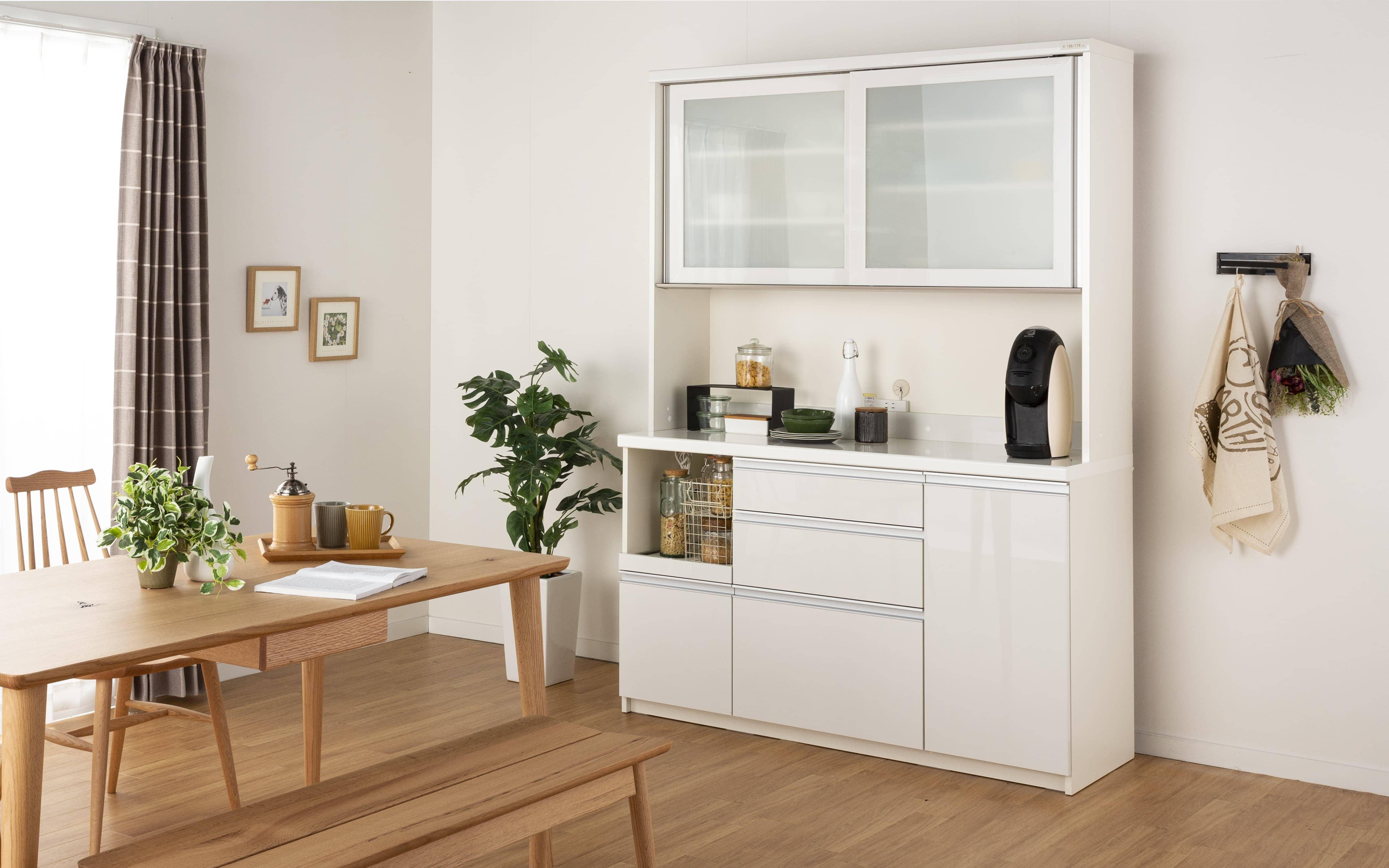 ダイニングボード MO−1200R (W プレーンホワイト):パモウナの高品質でリーズナブルな食器棚