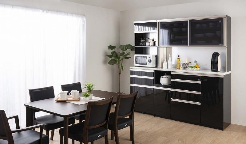 ダイニングボード プレーミエ QG−1400R Bブラックグレイン:『プレーミエ』シリーズの食器棚