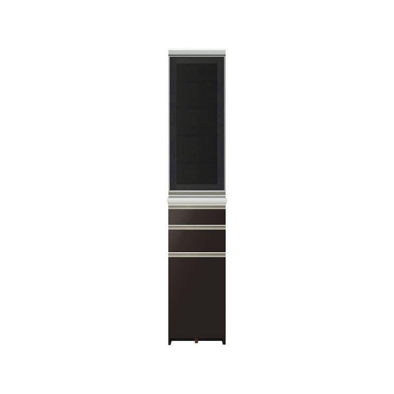 ダイニングボード プレーミエ (ガラス扉/右開き)QG−400KR Bブラックグレイン:食器棚業界で人気の高い「パモウナ」