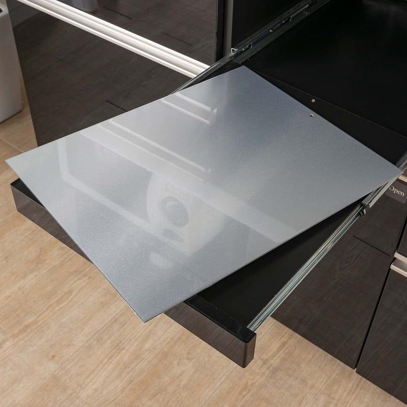 ダイニングボード プレーミエ (ストッカー/右開き)QG−401KR Bブラックグレイン:アルミ敷板