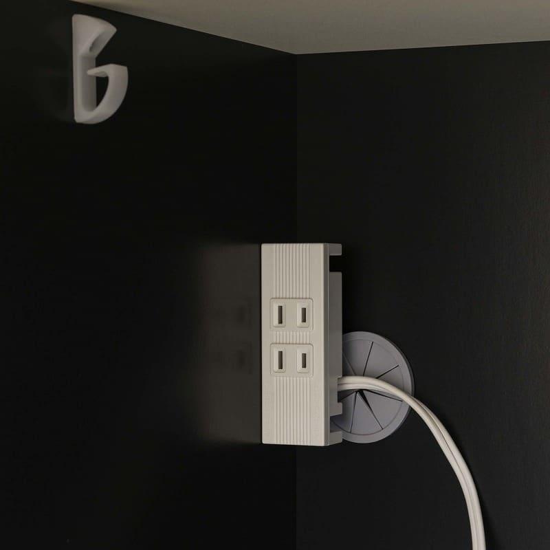 ダイニングボード プレーミエ (家電収納)QG−470R Bブラックグレイン:家電収納部コンセント