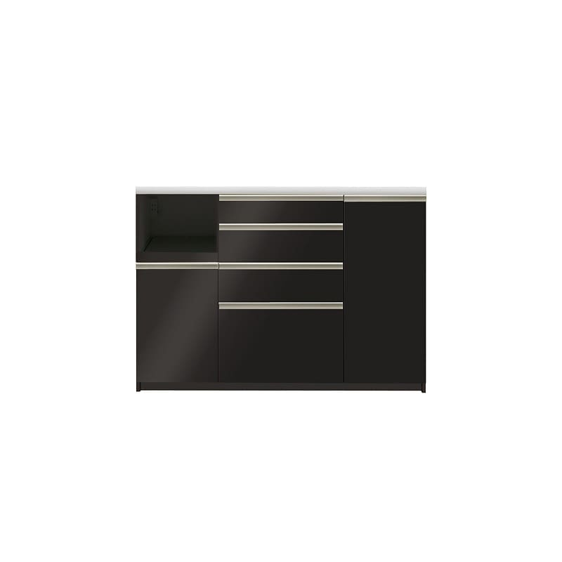 カウンター プレーミエ QG−1400R 下台 Bブラックグレイン:食器棚業界で人気の高い「パモウナ」