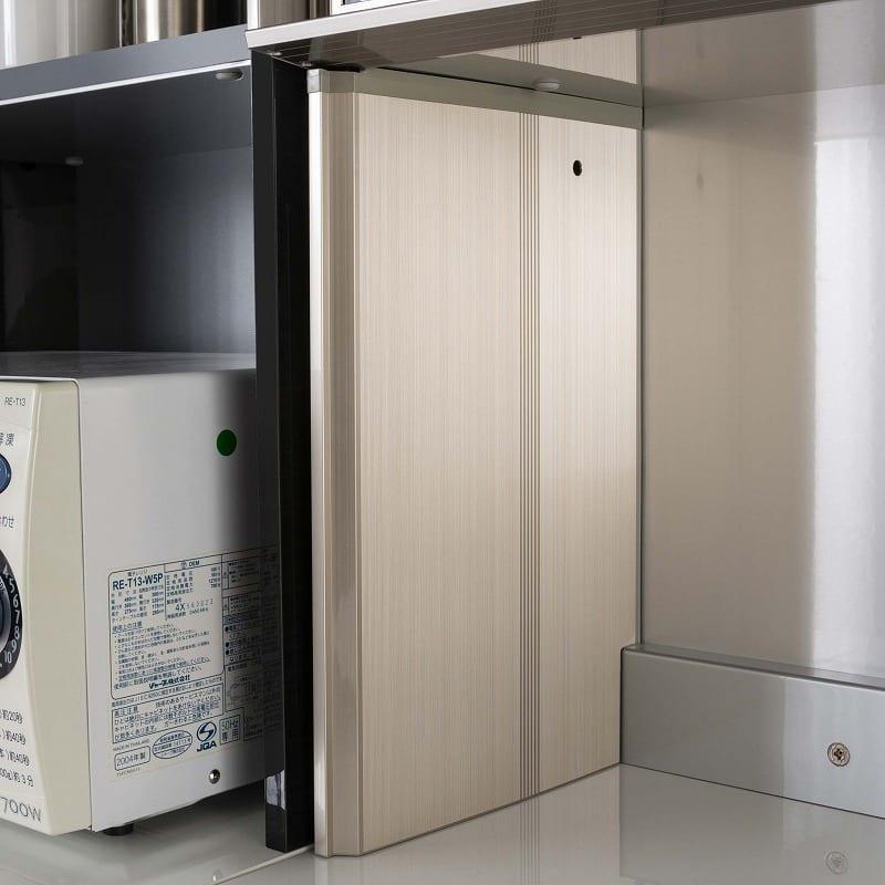 QGシリーズ用 上置き 幅40cm(左開き)QG−40UL Bブラックグレイン:シャンパンカラーのアルミ製側板