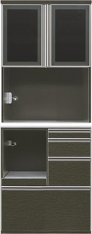 ダイニングボードエブリー 80 KB BK:木目調の鏡面仕上げがキッチンの印象をチェンジ