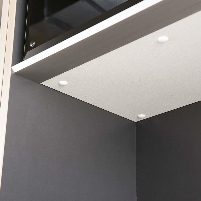 食器棚 サイゼスト 125 (ホワイト):カウンターと家電収納部天面にはモイスを標準装備