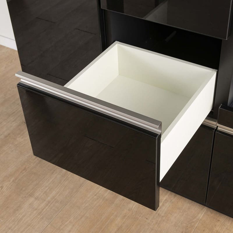 食器棚 サイゼスト 130 (ホワイト):出し入れ簡単なフルスライドレール仕様