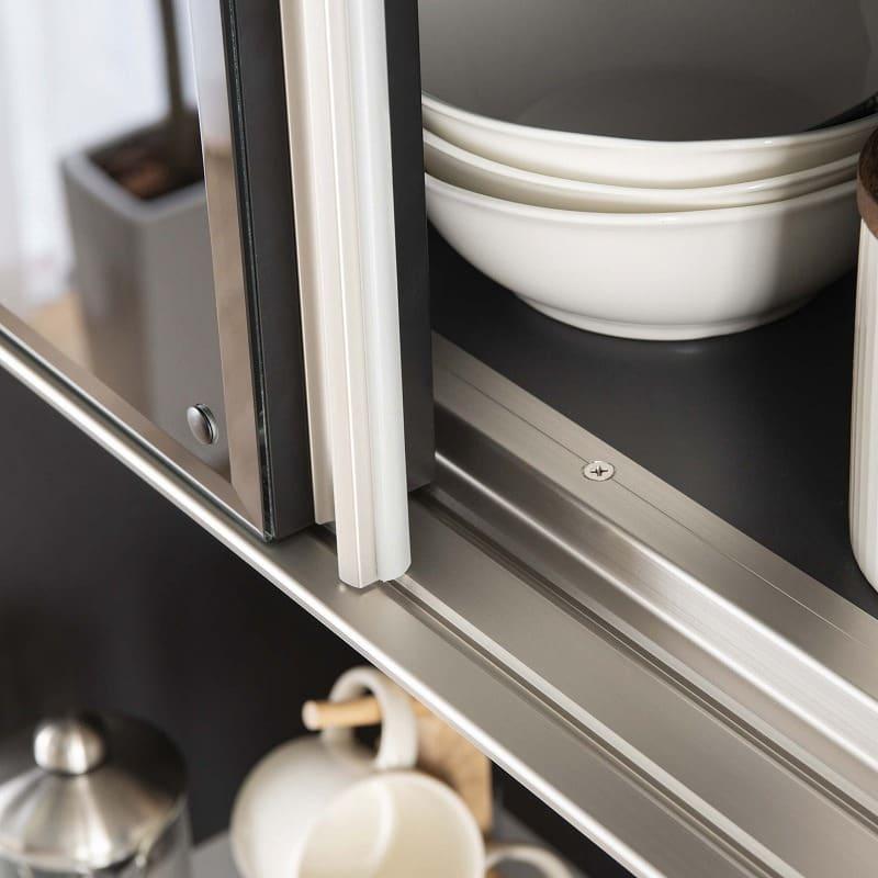 食器棚 サイゼスト 140 (ホワイト):高い耐久性を誇るアルミレール