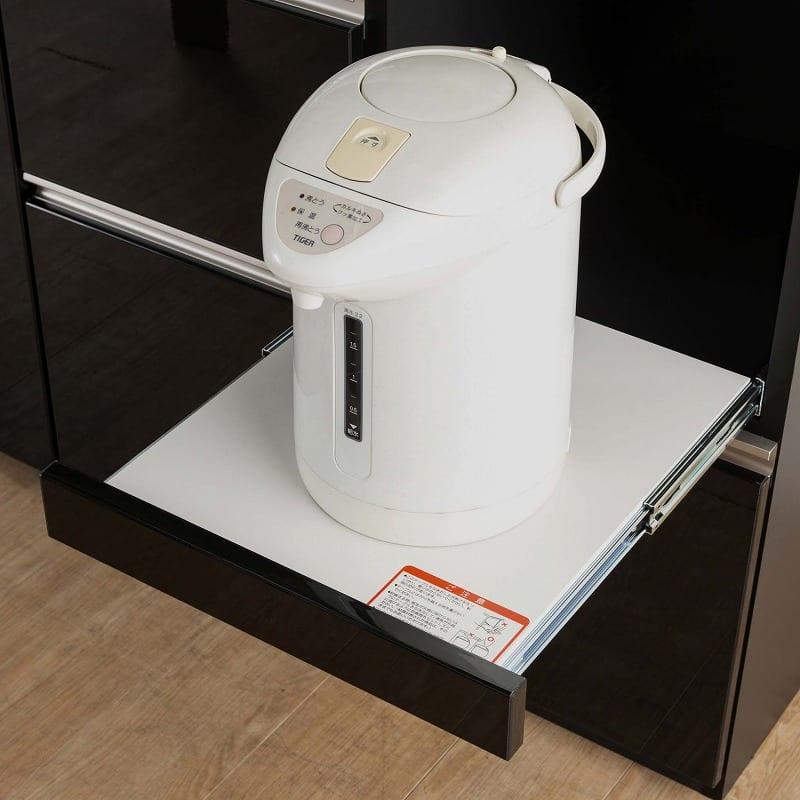 食器棚 サイゼスト 145 (ブラック):余裕たっぷりの家電収納スペース