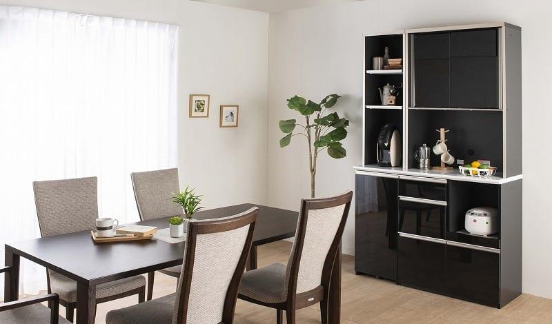 食器棚 サイゼスト 160 (ブラック):欲しいサイズがきっと見つかる