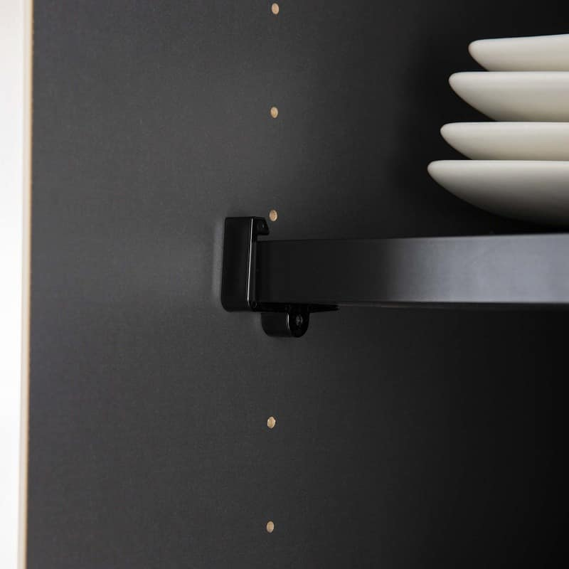 食器棚 サイゼスト 160 (ブラック):棚板の飛び出しを防ぐストッパー付き