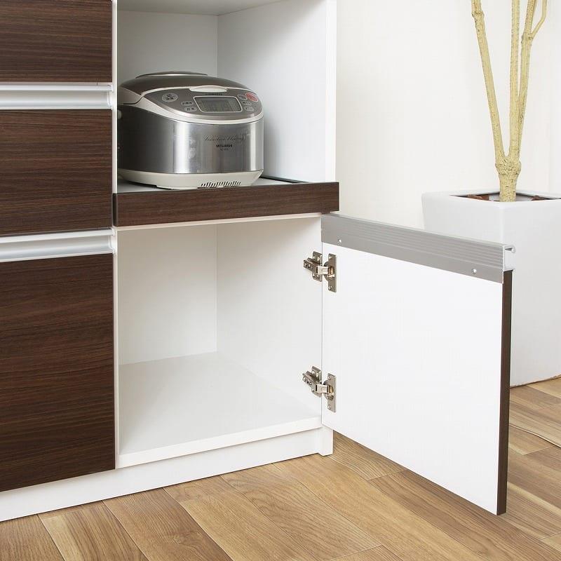 キッチンボード ティーノ140ロータイプ (ダーク):開き戸フードストッカー