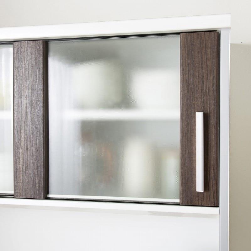 キッチンボード ティーノ120ハイタイプ (ホワイト):扉はミストガラス仕様