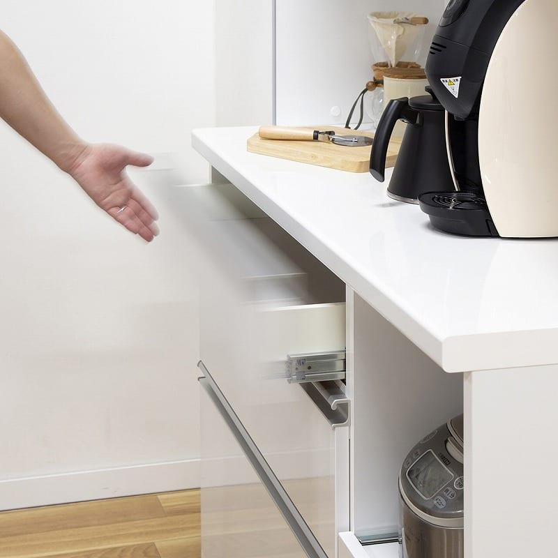 キッチンボード ティーノ140ハイタイプ (ホワイト):全ソフトクロージング