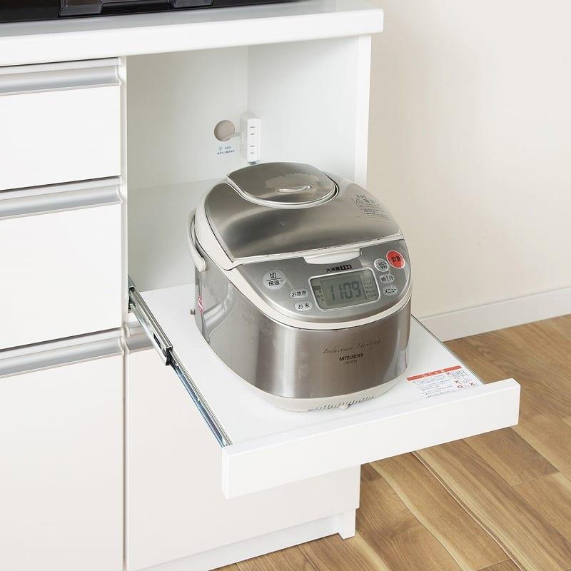 キッチンボード ティーノ140ハイタイプ (ホワイト):家電収納スライド棚