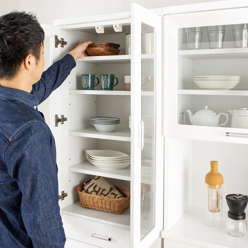 食器棚 ペレットβ 60OP2段(ホワイト):181�pの省スペースタイプ