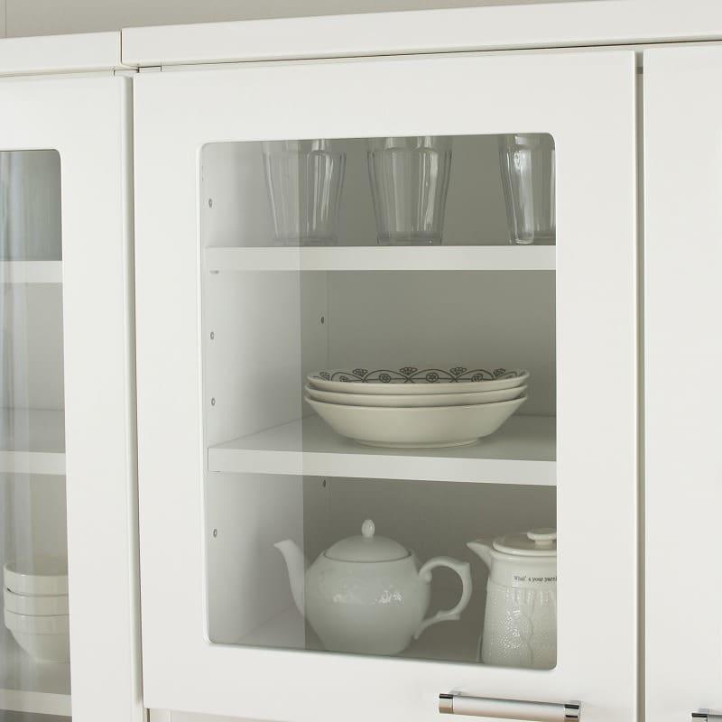 食器棚 ペレットβ 60OP2段(ホワイト):見せる収納が叶うガラス扉収納