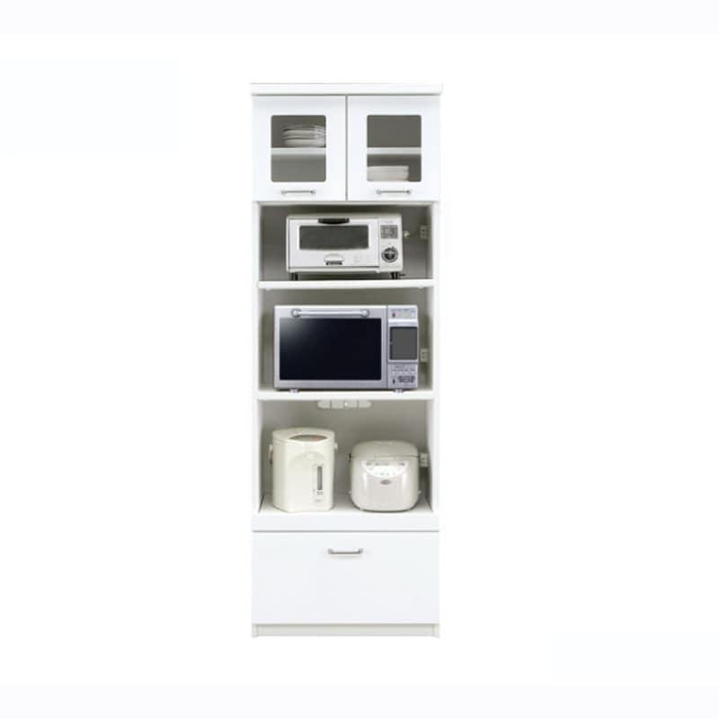 食器棚 ペレットβ 60OP3段(ホワイト):収納に合わせてお好みのサイズをチョイス 小物類はイメージです。