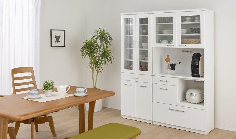食器棚 ペレットβ 60OP3段(ホワイト):収納に合わせてお好みのサイズをチョイス