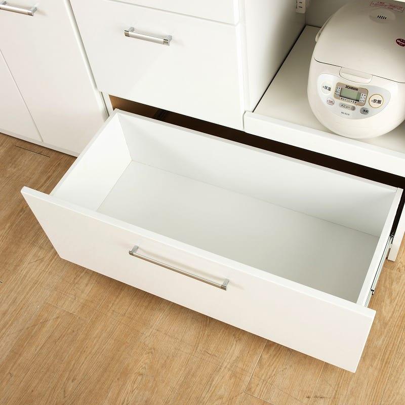 食器棚 ペレットβ 60OP3段(ホワイト):下段引出しはフルスライドレール仕様