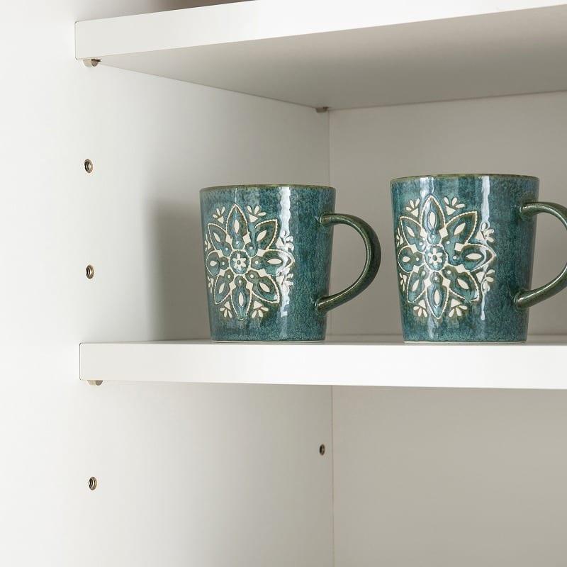 食器棚 ペレットβ 60OP3段(ホワイト):可動棚で無駄なく収納
