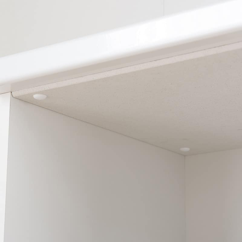 食器棚 ペレットβ 60OP3段(ホワイト):天面にMoiss(R)を使用(オプション)