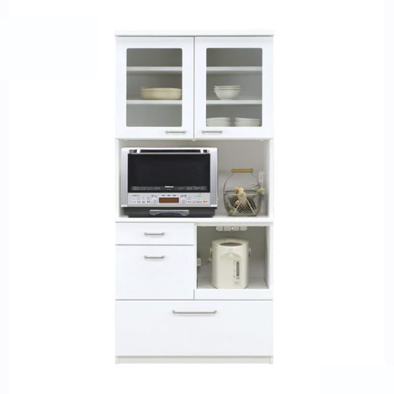食器棚 ペレットβ 85OP開戸(ホワイト):収納に合わせてお好みのサイズをチョイス 小物類はイメージです。