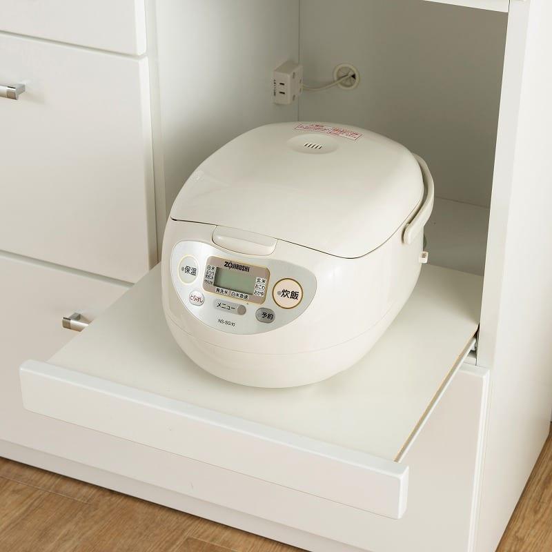 食器棚 ペレットβ 85OP開戸(ホワイト):家電収納はスライドします