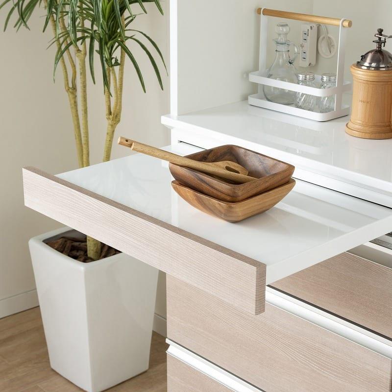 ダイニングボード ハイル HT−140FDST エルムグレー:チョイ置きに便利なスライドテーブル