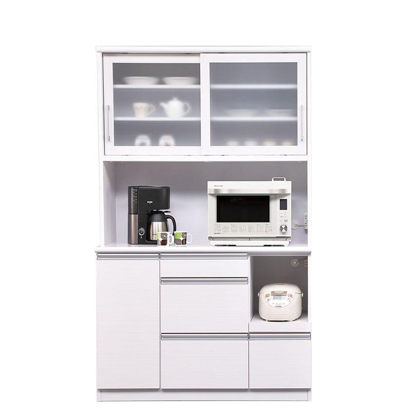 食器棚 ブルート ロータイプ120(WH柾目)