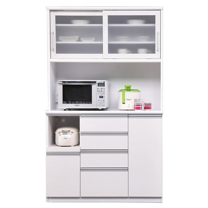 食器棚 ブルート ハイタイプ120(WH柾目):シマホのコスパに優れる食器棚 小物類はイメージです