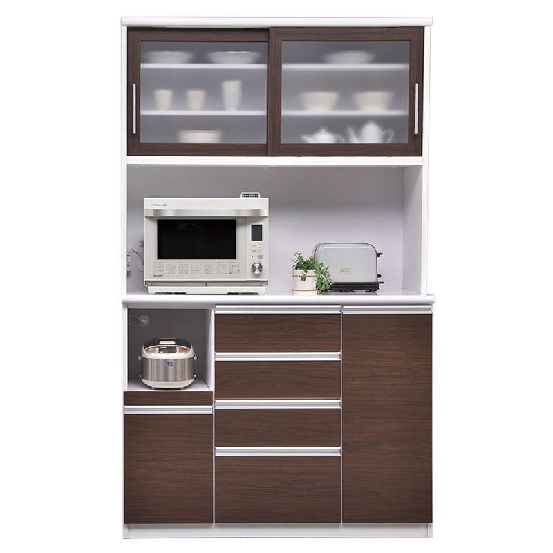 食器棚 ブルート ハイタイプ120(OBR):シマホのコスパに優れる食器棚 小物類はイメージです
