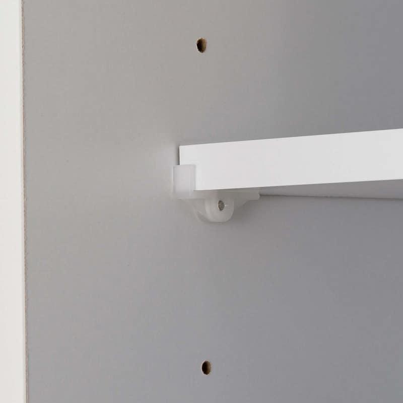 食器棚 ブルート ロータイプ140(WH柾目):差しダボで棚板調節が簡単