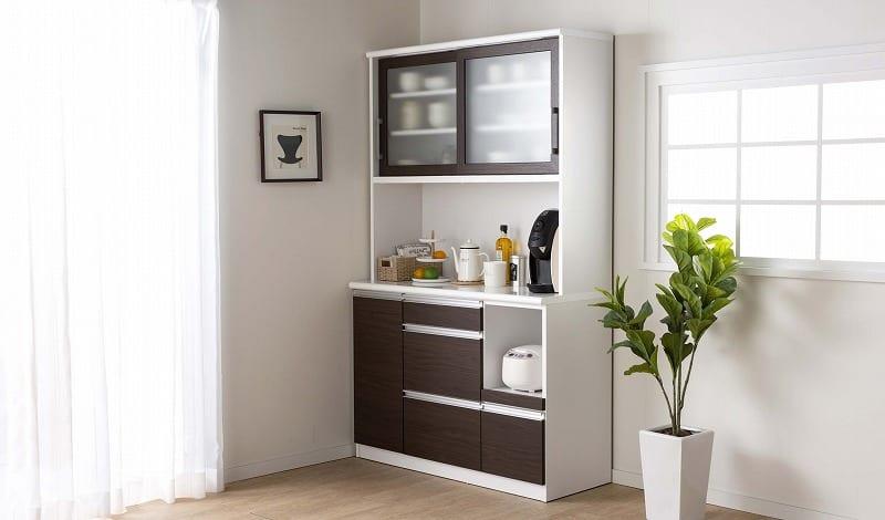 食器棚 ブルート ハイタイプ140(WH柾目):シマホのコスパに優れる食器棚