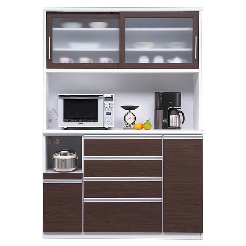 食器棚 ブルート ハイタイプ140(OBR):シマホのコスパに優れる食器棚 小物類はイメージです
