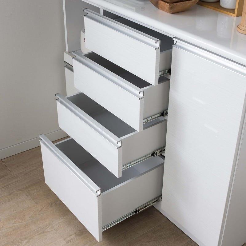 食器棚 ブルート ロータイプ 90右 (WH柾目):整理しやすい引出し4段タイプ