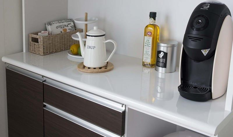 食器棚 ブルート ハイタイプ 90左 (WH柾目):アイカ社製メラミン天板採用