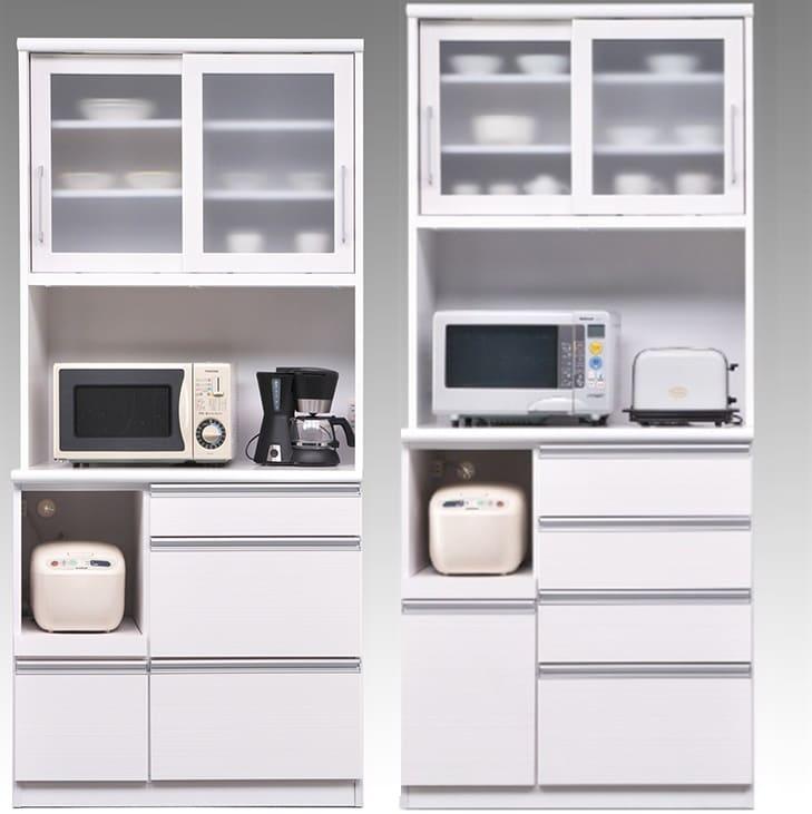 食器棚 ブルート ハイタイプ 90左 (WH柾目):インテリアや天井高に合わせて2種類の高さをご用意