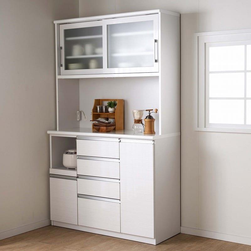 食器棚 ブルート ハイタイプ 90左 (WH柾目):信頼の国産家具
