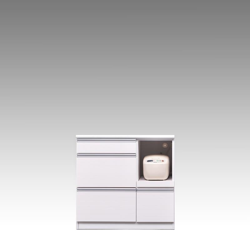 カウンター ブルート ロータイプ 90右 (WH柾目):シマホのコスパに優れる食器棚 小物類はイメージです