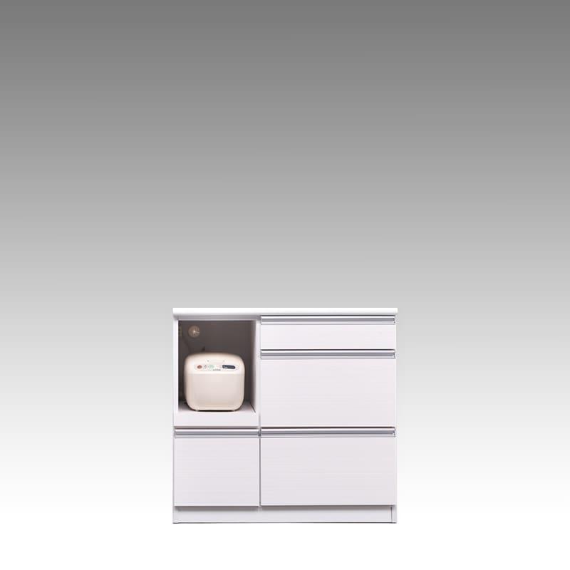 カウンター ブルート ロータイプ 90左指定 (WH柾目):シマホのコスパに優れる食器棚 小物類はイメージです