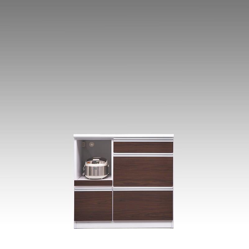 カウンター ブルート ロータイプ 90左指定 (OBR):シマホのコスパに優れる食器棚 小物類はイメージです