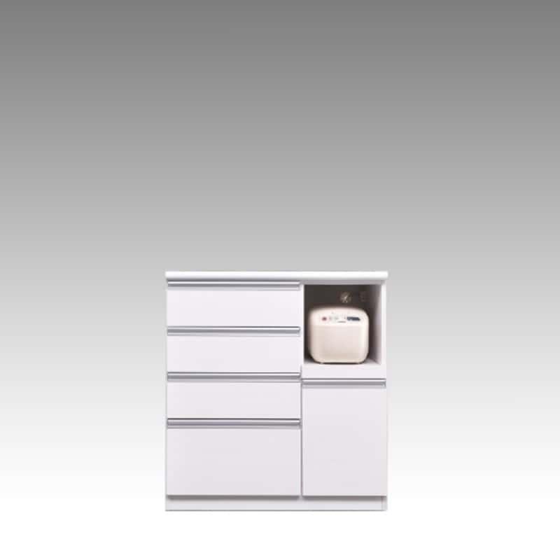 ハイカウンター ブルート ハイタイプ 90右指定 (WH柾目):シマホのコスパに優れる食器棚 小物類はイメージです