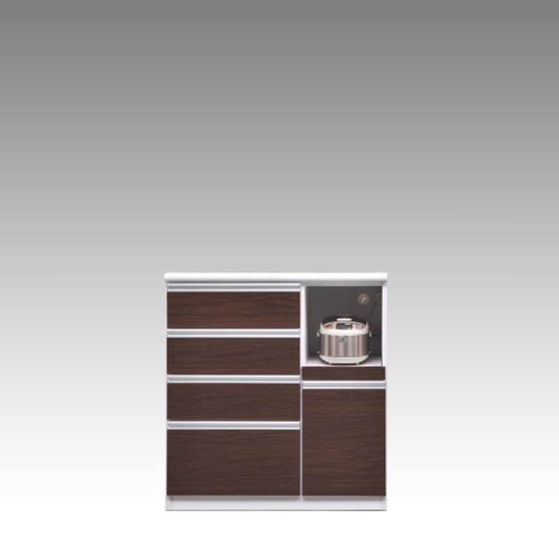 ハイカウンター ブルート ハイタイプ 90右指定 (OBR):シマホのコスパに優れる食器棚 小物類はイメージです